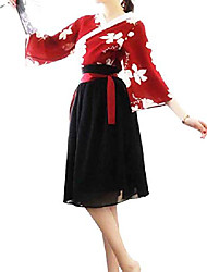 cheap -women's chinese traditional hanfu clothing retro chiffon dress red flower kimono coplay jacket knee length skirt (red black)