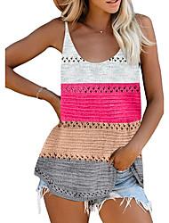 cheap -Women's Knitted Color Block Vest Sleeveless Sweater Cardigans Deep U Summer Black Blue Purple
