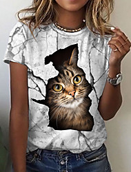 cheap -Women's 3D Cat T shirt Cat Graphic 3D Print Round Neck Tops Basic Basic Top White