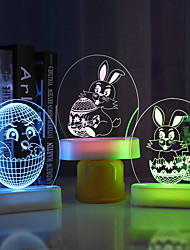 cheap -Easter Egg Bunny Rabbit Decoration Light Decor & Gadget Lights LED Night Light Creative Decoration Atmosphere Lamp ON / OFF Easter Day AAA Batteries Powered 1pc