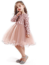 cheap -Kids Little Girls' Dress Mesh Tulle Dress Party Causal Floral Blushing Pink Above Knee Long Sleeve Lace Princess Dresses 2-8 Years