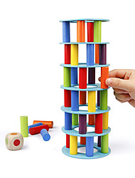 cheap -Wooden Tower Stacking Game, Fine Motor Skill Building Blocks with Dice Toppling Leaning Tower Toy Montessori Family Party Games for Kids and Adults