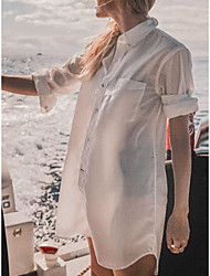 cheap -Women's Swimsuit Cover Up Beach Top Swimsuit Slim Button Solid Color Abstract White Swimwear Tunic Shirt V Wire Bathing Suits New Fashion Sexy