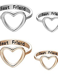 cheap -Friendship Rings,Fashion Letter Best Friends Ring Simple Hollow Heart Ring (Gold, 10)