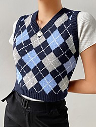 cheap -Women's Stylish Check Pattern Knitted Plaid Vest Sleeveless Sweater Cardigans V Neck Spring Summer Blue