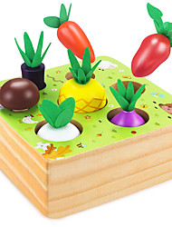cheap -Wooden Toys for Boys and Girls 1 2 3 Years OldSTEM Educational Toys of Shape Size Sorting Puzzle Vegetables and Fruits Harvest Montessori Toy Gift for Toddlers Age 1-2