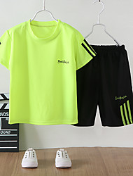 cheap -Kids Boys' T-shirt & Shorts Basketball Suit Clothing Set 2 Piece Short Sleeve White Red Green Solid Color Stripe Letter Print School Daily Wear Active Sports 3-10 Years