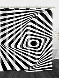 cheap -Black and White Stripes Print Waterproof Fabric Shower Curtain for Bathroom Home Decor Covered Bathtub Curtains Liner Includes with Hooks