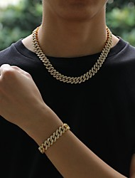 cheap -Men's Chains Necklace Cuban Link Hip Hop Alloy Silver Gold 41-60 cm Necklace Jewelry 1pc For Street Gift