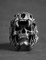 cheap -gothic men's skull ring cool steel biker vintage indian jaguar warrior skull punk ring jewelry gift for him,11