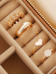 cheap -Band Ring Classic Gold Alloy Heart Stylish Simple European 5pcs Adjustable / Women's / Adjustable Ring