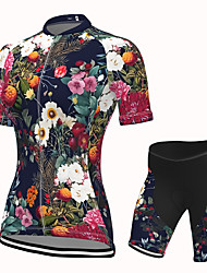 cheap -Women's Short Sleeve Cycling Jersey with Shorts Spandex Black Floral Botanical Bike Breathable Quick Dry Sports Floral Botanical Mountain Bike MTB Road Bike Cycling Clothing Apparel / Stretchy