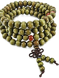 cheap -Men,Women's 8mm Wood Bracelet Link Wrist Necklace Chain Tibetan Buddhist Green Sandalwood Bead Prayer Buddha Mala Chinese Knot Elastic
