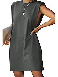 cheap -alvaq women shift dresses summer shoulder pads sleeveless loose casual tshirt dress swing tunic mini skater fashion 2020 grey medium