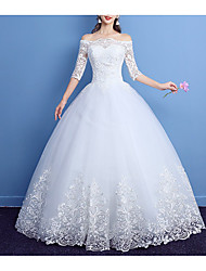 cheap -Princess Ball Gown Wedding Dresses Off Shoulder Floor Length Lace Tulle 3/4 Length Sleeve Romantic with Pleats Appliques 2021