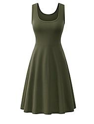 cheap -Women's Sundress Knee Length Dress Purple Wine Army Green Light Brown Fuchsia Gray Gold Green Royal Blue Orange Sleeveless Solid Color Summer Square Neck Casual 2021 S M L XL XXL 3XL