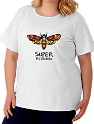 cheap -Women's Plus Size Tops T shirt Print Bee Large Size Crewneck Short Sleeve Basic Big Size XL XXL 3XL 4XL 5XL White Black Gray / Cotton