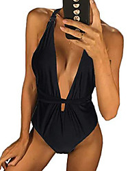 cheap -one piece halter swimsuit for women sexy backless tummy control bathing suit (black, s)