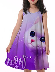 cheap -Kids Little Girls' Dress Cat Animal Print Purple Knee-length Sleeveless Flower Active Dresses Summer Regular Fit 5-12 Years