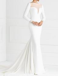 cheap -Mermaid / Trumpet Wedding Dresses Jewel Neck Court Train Italy Satin Long Sleeve Country Simple with Pleats 2021
