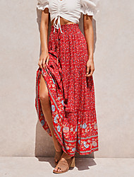 cheap -Women's Daily Vintage Boho Skirts Floral Print White Blue Red