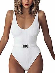 cheap -Swimwear, Women Ribbed One-Piece Swimsuit High Cut Buckle Belted Bathing Suit Push-Up Padded Bra Beach Bikini Monokini (White, M)