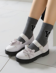 cheap -Women's Lolita Shoes Platform Round Toe Microfiber Bowknot Buckle Solid Colored White Black