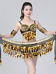 cheap -Belly Dance Top Beading Ruching Split Joint Women's Training Performance Sleeveless Natural Sequined Polyester
