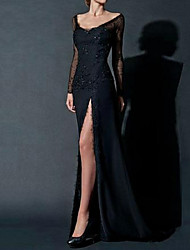cheap -Sheath / Column Sexy Engagement Formal Evening Dress Scoop Neck Long Sleeve Floor Length Chiffon with Beading Lace Insert Split Front 2021