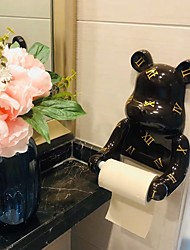 cheap -Creative Wall-mounted Bear Tissue Box Kitchen Toilet Paper Roll Paper Rack Tube Free Punch