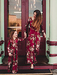 cheap -Mommy and Me Dress Graphic Print Red Long Sleeve Maxi Matching Outfits