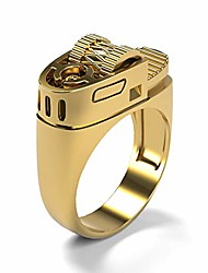 cheap -european and american punk style punk plated 14k gold fashion creative lighter ring (gold, 9)