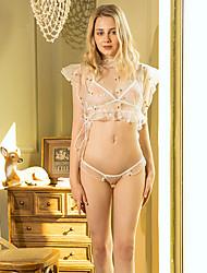 cheap -Women's Mesh Babydoll & Slips Nightwear Embroidered Bra & Panty Set White One-Size