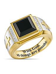 cheap -Band Ring Agate Geometrical Gold Zircon Copper Gold Plated Cross Fashion Vintage 1pc 8 9 10