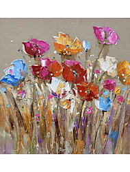 cheap -Oil Painting Hand Painted Square Abstract Floral / Botanical Modern Rolled Canvas (No Frame)