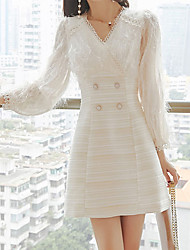 cheap -A-Line Flirty Elegant Homecoming Graduation Dress V Neck Long Sleeve Short / Mini Jersey with Lace Insert 2021