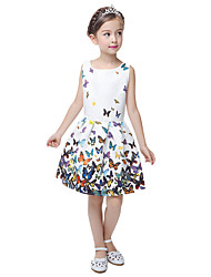 cheap -Kids Little Girls' Dress Butterfly Flower Party Causal Print Ivory white White Blue Sleeveless Flower Princess Sweet Dresses Summer Regular Fit 5-12 Years
