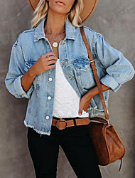 cheap -Women's Solid Colored Spring &  Fall Denim Jacket Regular Daily Long Sleeve Acrylic Coat Tops Light Blue