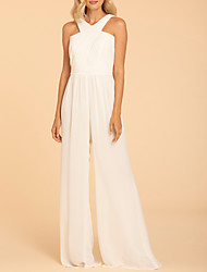 cheap -Jumpsuits Halter Neck Floor Length Chiffon Bridesmaid Dress with Ruching