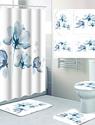 cheap -Beautiful Flower Pattern Printing Bathroom Shower Curtain Leisure Toilet Four-piece Design