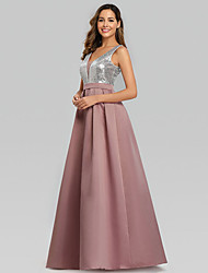 cheap -A-Line V Neck Floor Length Satin Bridesmaid Dress with Sequin / Ruching