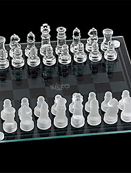 cheap -Small Glass Chess Set 7.5 Inch 33 Pieces Transparent Board Game with Frosted and Clear Pieces Felt Bottom and Storage Box with Carrying Handle for Family Game Night Kids Boy or Girl