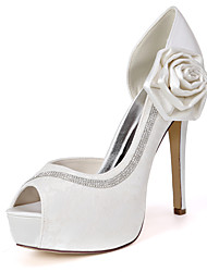cheap -Women's Wedding Shoes Stiletto Heel Peep Toe Wedding Pumps Lace Satin Satin Flower Sparkling Glitter Floral White Light Purple Pink