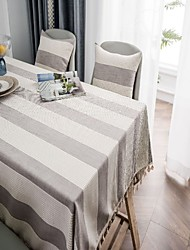 cheap -Table Linens Cotton Dust-Proof European Style Striped Tabel cover Table decorations for Daily Wear rectangule 60*60 cm Grey 1 pcs