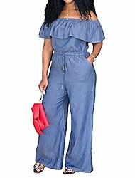cheap -Women's Plus Size Jumpsuit One Shoulder Plain Summer Light Blue Navy Blue M L XL XXL XXXL / Denim