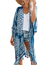 cheap -Women's Cover Up Swimsuit Print Geometric Blue Brown Swimwear Bathing Suits