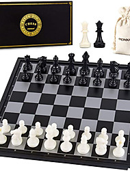 cheap -10 Inches Magnetic Travel Chess Set with Folding Chess Board - 2 Extra Queens - Storage Bag for Pieces - Instructions for Beginner Kids and Adults