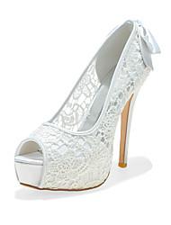 cheap -Women's Wedding Shoes Stiletto Heel Peep Toe Wedding Pumps Lace Bowknot Braided White Black Pink