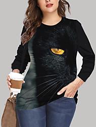 cheap -Women's Plus Size Tops T shirt Print Cat Graphic Animal Large Size Crewneck Long Sleeve Big Size XL XXL 3XL 4XL 5XL Black Yellow