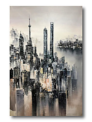 cheap -Stretched Oil Painting Hand Painted Canvas Abstract Comtemporary Modern High Quality Building City Ready to Hang